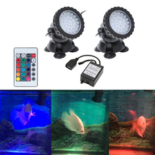 Underwater 72LEDs 3W 12V Waterproof IP68 Submersible 2-Light Spot Light for Aquarium Garden Pond Pool Tank