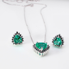 Fashion Heart Shape Emerald CZ Diamond Crystal Jewelry Sets white Gold Plated earring And Necklaces Pendante Jewellery For Women
