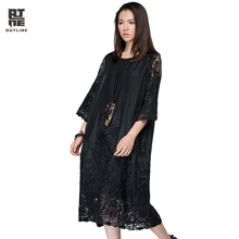 Outline Women Summer Loose Dress Solid Black Wrist Sleeve Lace Embroidery Vestidos Elegant O-neck Plus Size Long Dress L163Y015