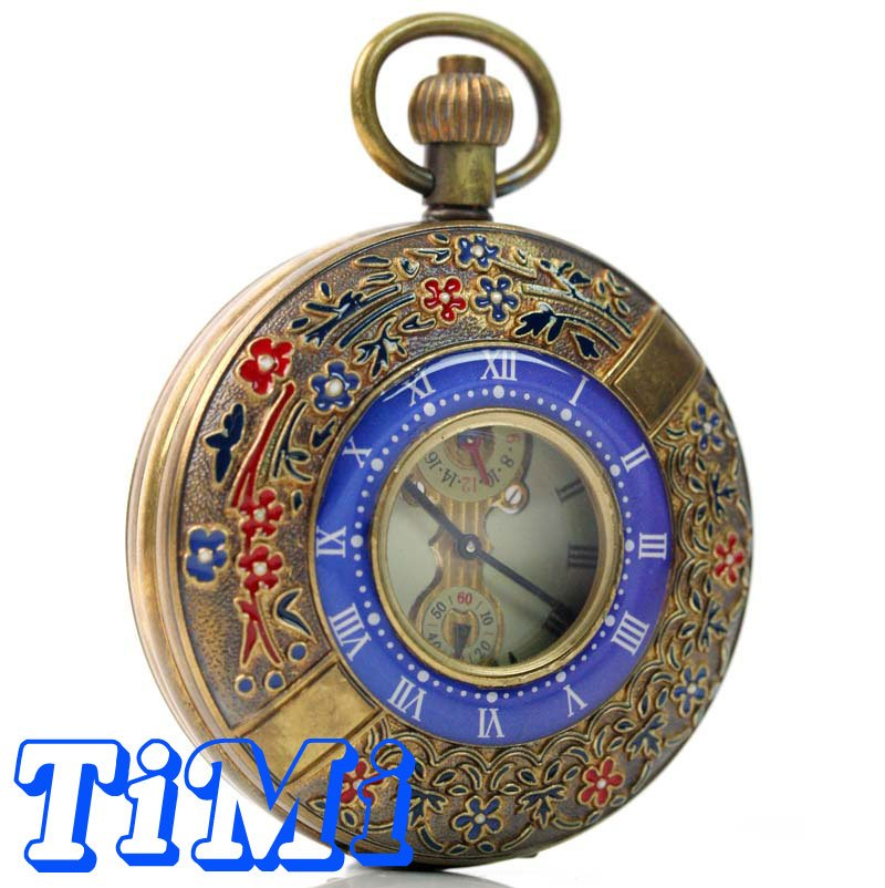 55mm ARCHAIZE COPPER ROMAN NUM MECHANICAL POCKET WATCH<br>