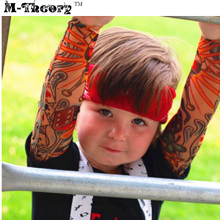 M-theory 1pcs Kid Size 3D Tattoos Sleeve Arm Stockings Leggings Elastic Biker Temporary Body Art Henna Tatoo Makeup Tools