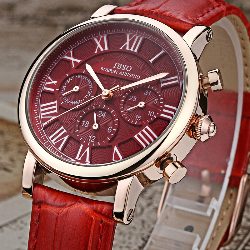 IBSO Brand High Quality Luxury Red Women Watches 2018 Week And Calendar Fashion Watch Women Genuine Leather Strap Montre Femme<br>