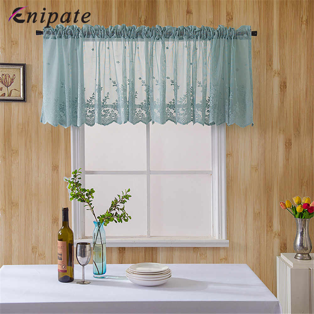 Enipate Modern Lace Jacquard Window Curtain Valance Lace Hem Coffee Short Curtain for Kitchen Cabinet Door Bedroom Home Decor