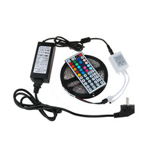 Retail Perfect set 5M 5050 RGB LED Strip Light Non-Waterproof 300 OR IP65 44 Keys Remote + 12V 6A Power Adapter