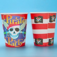 6pcs Pirate theme printing paper cup tableware for children birthday Party decoration drinking cups(China)
