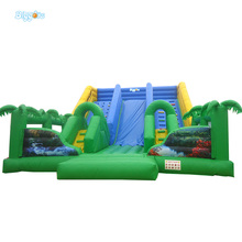 Green Palm Tree Large Playground Inflatable Slide with Climbing Wall