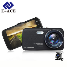 E-ACE Car DVR Camera Dashcam Dual Lens With LDWS ADAS Rear View Front Car Distance Warning Full HD 1080P Night Vision Automobile