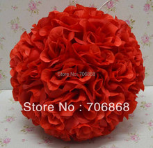 Free shipping 25cm*12pcs Rose kissing ball artificial silk flower wedding party decoration red color