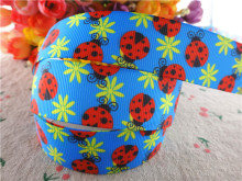 "17030261,New arrival 1"" (25mm) 50 yards/lot flowers ladybug printed grosgrain ribbons cartoon ribbon DIY handmade materials(China)"