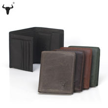 FAMOUSFAMILY High Quality Men Wallet Genuine Leather Fashion Design Large Capacity Cowhide Man Purses Card Holder Coin Pocket