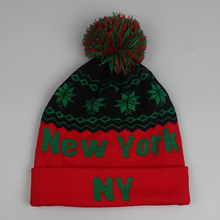 Christmas gift new design stylish new york pom beanies hat snow flakes texts knit winter skull caps for men women,red green navy