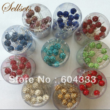 Sellets 200pcs Mix Color Full Pave Disco Rhinestone Crystal Shamballa Beads Hair Pins Bridal Jewelry Accessories Clip