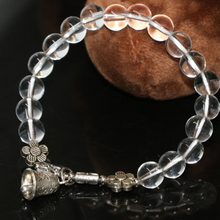 Free shipping factory outlet bell pendant bracelet white electroplated crystal8mm round beads women beauty jewelry 7.5inch B2168(China)