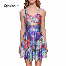Drop Ship Brand New Hot Sexy Women Casual Dress Tale As Old As Time Reversible Skater Dress Pleated Print Dresses(China)