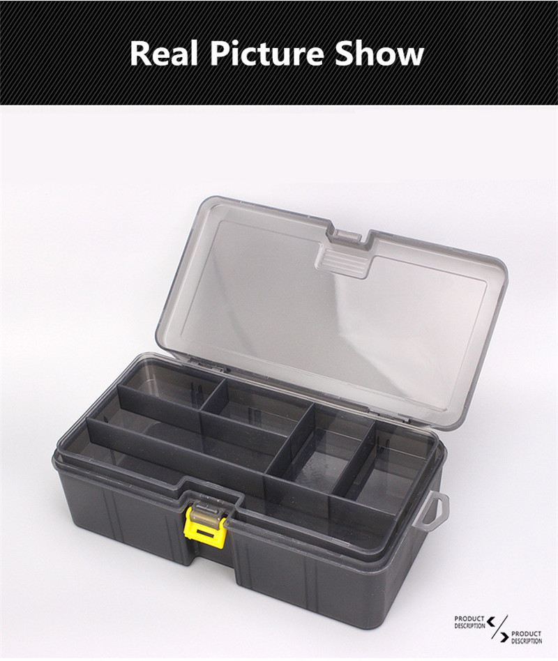Double Layers Thickened Size Plastic Lure Fishing Box for Fishing Bait Tools Accessories Fishing Tackle Storage Box 21x12x6.5cm (8)