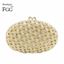Boutique De FGG Dazzling Gold Crystal and Opal Stone Women Evening Minaudiere Bag Metal Clutches Purse Wedding Chain Handbag(China)