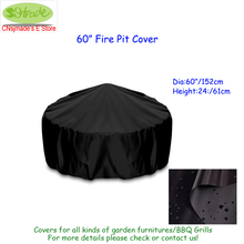 "Durable fire pit cover, D60""xH24"" (D152xH61cm), balck color, Oxford fabric, customized available, free shipping, waterproofed"