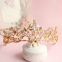 2017 Baroque crown gold leaf tairas dragonfly bridal hair accessories Princess Bridal crowns headdress women ornaments gift(China)