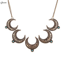 Navajo Horn Necklace Women Tribal Necklace Crescent Moon Necklace Cowgirl Indian Native American Jewelry Online Shopping India(China)