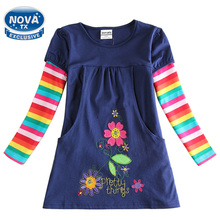 Princess dress novatx girls clothes embroidery cartoon floral girls costume autumn cotton children trolls dress child girl H5802