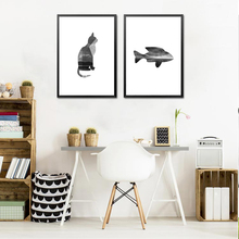 Modern Minimalist Nordic Abstract Art Cat And Fish Canvas Painting Wall Picture For Modern Living Room Decor No Frame HD2255(China)