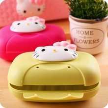 Bathroom accessories NEW Kawaii Hello Kitty Cute Cartoon travel Portable With cover Soap Dish Storage Box Soap Holder Tray Case