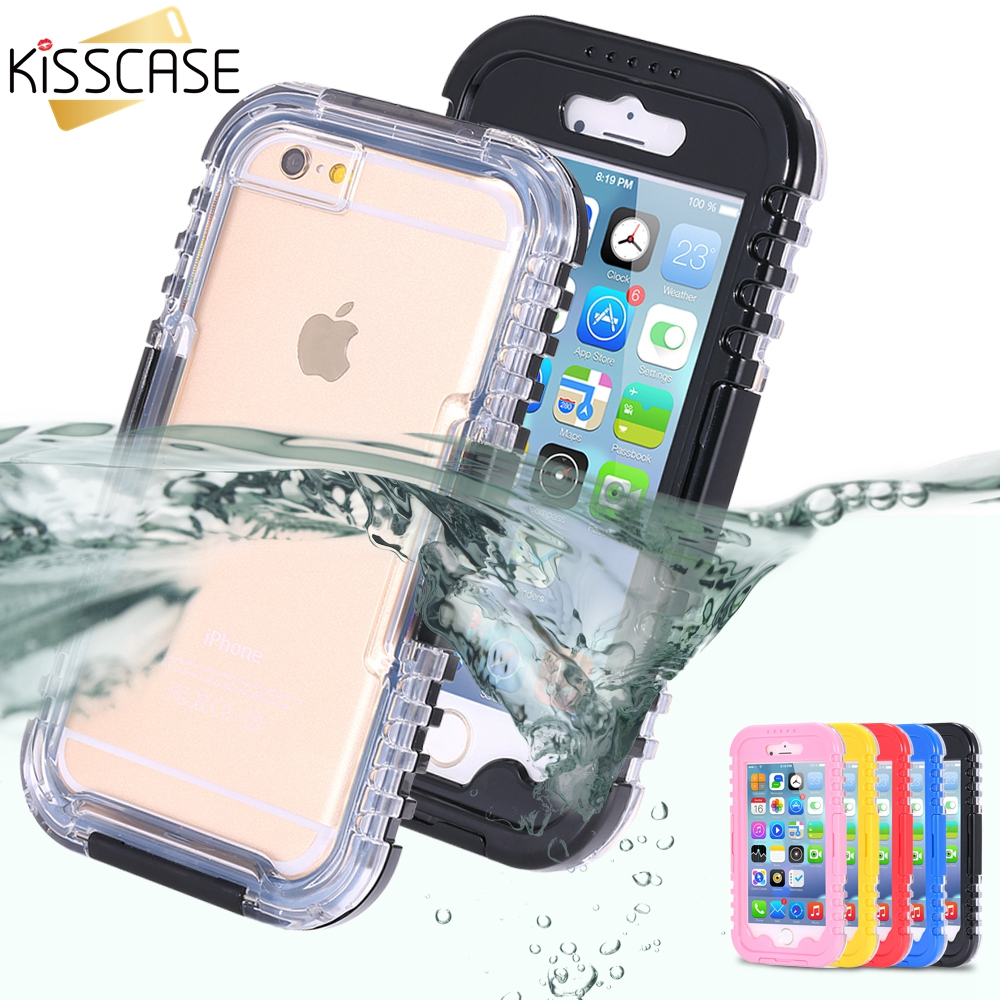 KISSCASE Swimming Pouch Cover for iphone 6 Plus 5.5 Hard Clear Transparent Front Back Strap Waterproof Cases for iphone 6 7(China (Mainland))