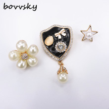 Bovvsky Fashion simulated pearl stat flower badge Brooches Enamel Bag Brooch Pins For Hats Scarf Women Bijoux 3 pieces/set