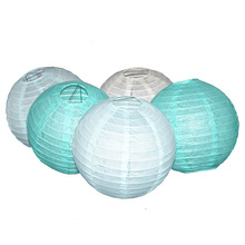 15 Colors Paper Ball Chinese Paper Lanterns For Party And Wedding Decoration Hang Paper Lanterns Mint green light blue beige(China)
