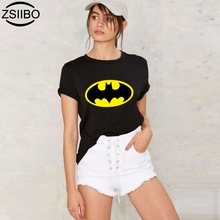 2017 women's t shirt brand summer Wild Fashion Batman print casual short sleeve o-neck 3 color  t-shirts BANVTX40