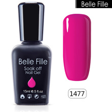 Belle Fille Rose Red Nail gelpolish Candy Color Gel 15ml Fluorescent Coat Base Top UV Gel Nail Polish Manicure Varnishes UV LED
