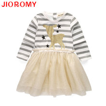 2017 Brand Girls Dress New Spring Deer Star Striped Long-sleeved Sequin Dress Children's Clothing Fashion Kids Apparel JIOROMY(China)