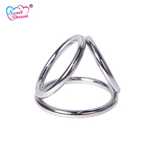 Buy Sweet Dream Metal Hoop Cock Ring Ball Stretcher Male Chastity Device Scrotum Penis Rings Restraint Adult Sex Toys Men DW-365