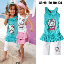 Hello Kitty Baby Girl clothing sets  new Kids 3 pcs set Cartoon sport Suit Children wear, Free Shipping