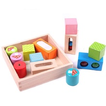 SUKIToy Wooden Toy Blocks With Mirror Kid's Soft Montessori Senses Blocks Set 12pcs multifunctional Classic toys high quality