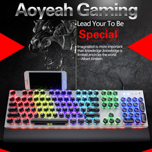 AOYEAH Crystal keycaps Wired ANTI-GHOSTING Mechanical Gaming Ergonomic Switch Backlit Multimedia gamer Keyboard  Computer Game