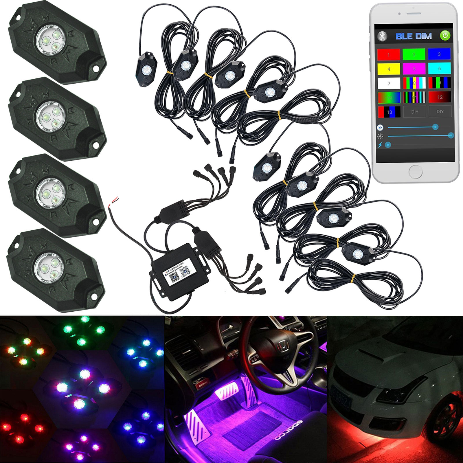 4/8PCS Car Pod Wireless Bluetooth/ Remote Controller RGB Car LED Rock Under Boby Light for Offroad Jeep<br><br>Aliexpress
