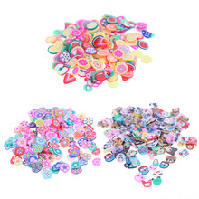 1000 Pieces/Bag Fimo Clay 3 Series Fruit Flowers Animals DIY 3D Nail Art Decorations Nails Art Decoration Sticker Design(China)