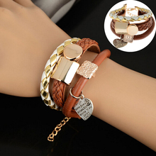 LNRRABC Women Fashion Jewelry Leather bracelets & bangles Double Infinity Multilayer Alloy charm bracelet femme Wristbands Gift