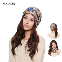 MAIJION Fashion Autumn Warm Hooded Scarf Hats for Women Men ,Letters Printing Cap Hip-hop Skullies Beanies for Boy Girls Gorros