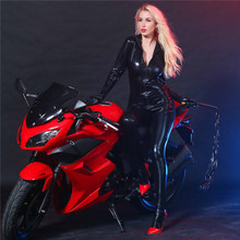 Buy new light Tighten Cardigan zipper Long sleeves Jumpsuit bodysuit sexy lingerie porno bodystocking latex catsuit lenceria leather