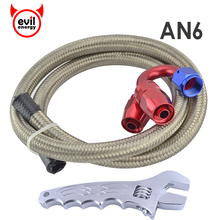evil energy AN6 Straight 180Degree Swivel Fittings+3.3FT AN6 Oil Fuel Hose Stainless Steel Braided Hose Line+Aluminum Spanner(China)