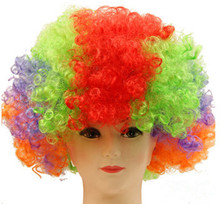 Clown Wig Synthetic Low Temperature Fiber Football Fan Afro Colors Toupee Short Curly Hairpieces Salon Party Carnival Hairpieces(China)