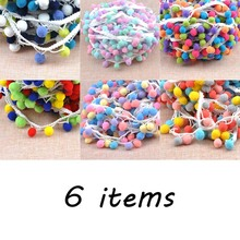 6 design 15mm Pompon Ball Trims Ribbon DIY Sewing Accessory Lace decoration 2 yard/lot DIY CP1542
