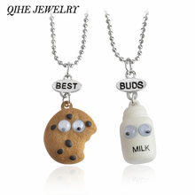 QIHE JEWELRY 2pcs/set Cookie&Milk Best Buds Pendant Bead Chain Necklace Best Friend BFF Mini Miniature Food Jewelry(China)