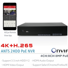 ANTS 4CH,8CH H.265 4K(8MP) Onvif PoE NVR Support 2x6TB SATA HDD with AEEye Smartphone View App support HDMI Video Audio output(China)