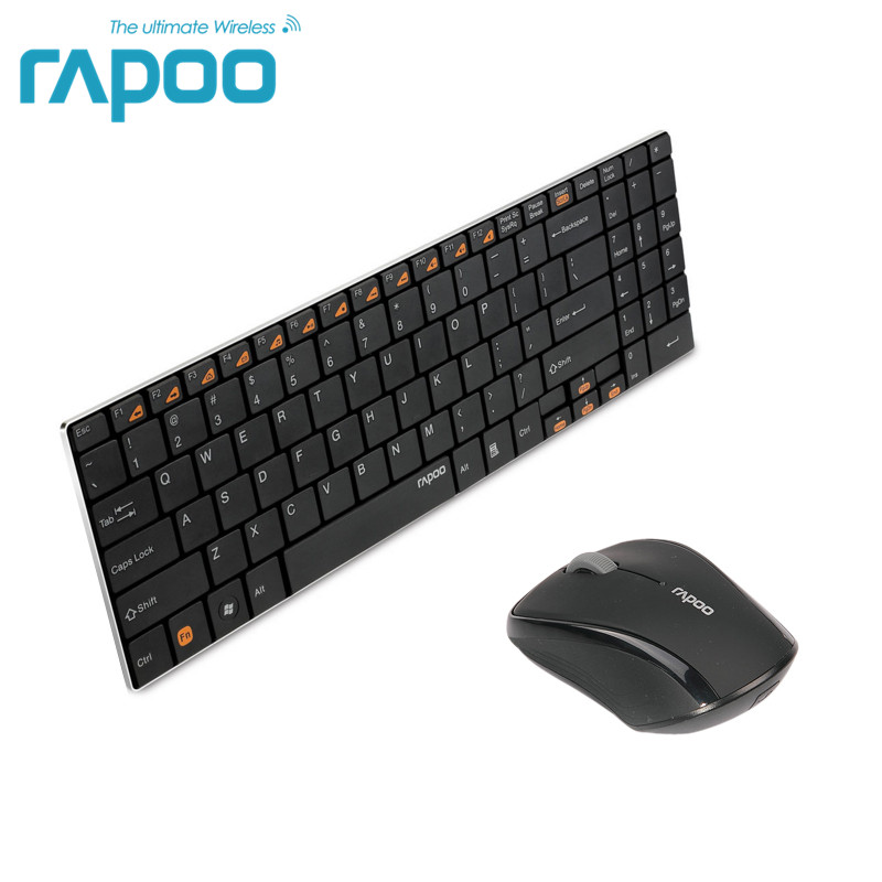 Original Rapoo 9060 Keyboard and Mouse Set Ultra Thin 2.4G Wireless Optical Keyboard and Mouse Combos for PC Laptop<br>