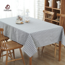 ParkShin Tablecloth Gray Striped Linen Cotton Table Cloth Rectangular Edge Europe Table Cover 4 Sizes Hot