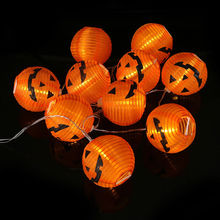 10 LED Halloween Decoration LED Paper Pumpkin Light Hanging Lantern Lamp Halloween Props Outdoor Party Supplies