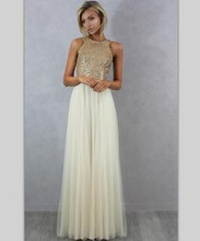 Sexy Backless Bridesmaid Dresses Gold Sequins Top Tulle Long Wedding Party Dress Floor Length Vestido Invitada Boda